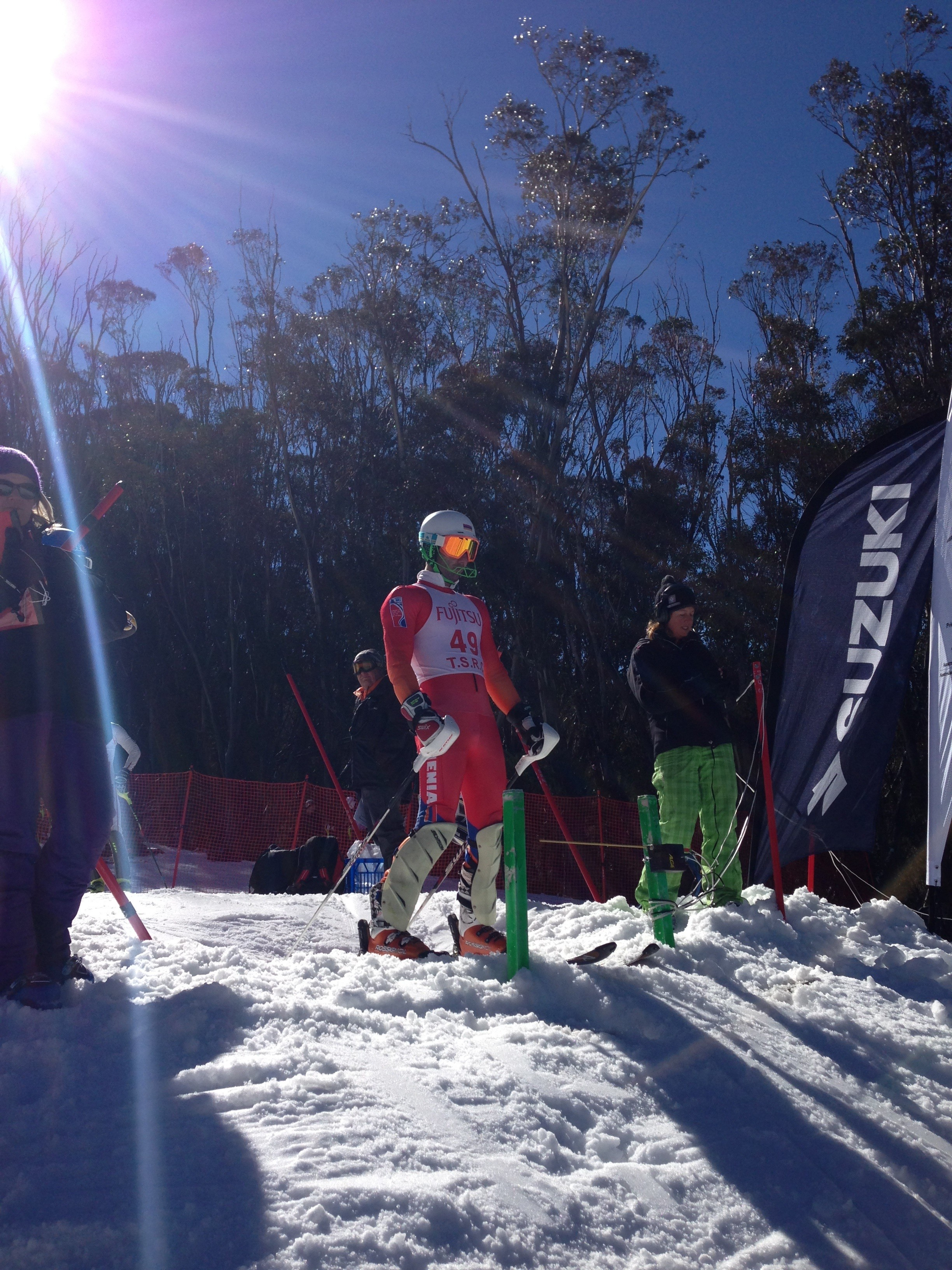 In the starting gate. FIS Australia-New Zealand Cup. Thredbo, AUS. August 16, 2013.