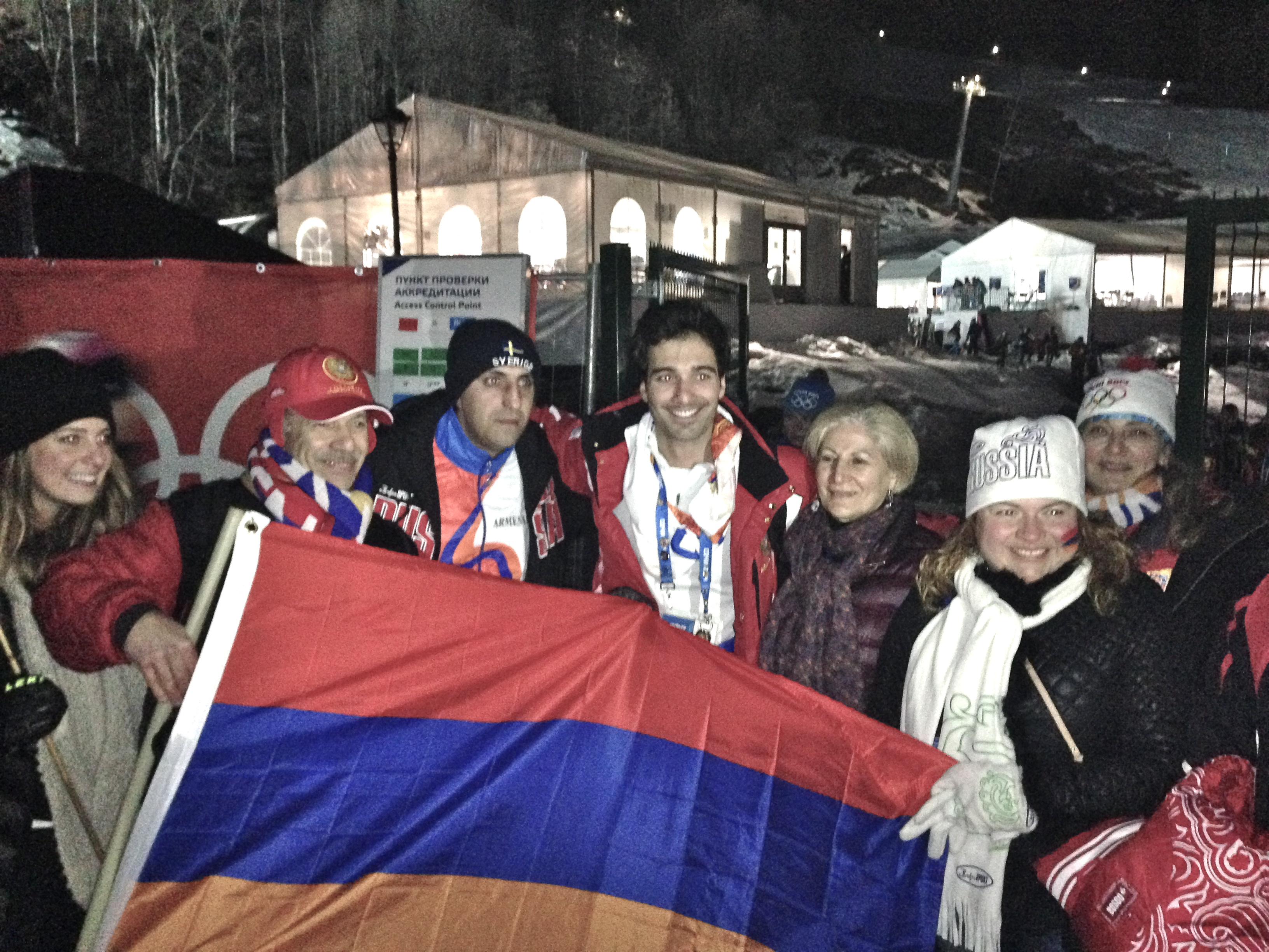 Visiting some fans after my slalom finish