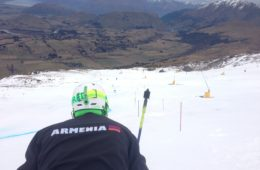 Getting ready for a training run. Coronet Peak, NZ. July 2013